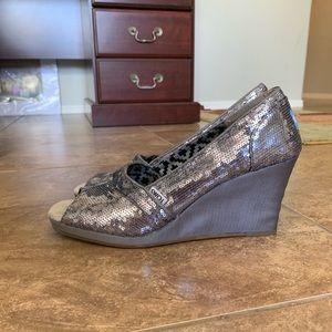 Toms Shoes - Toms sequin sparkly wedge heels